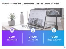 Our Milestones For E Commerce Website Design Services Ppt Powerpoint Presentation Portfolio