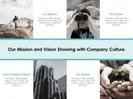 Our Mission And Vision Showing With Company Culture