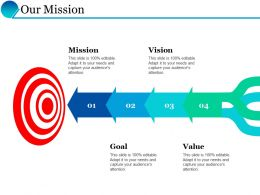 Our Mission Arrows Targets F535 Ppt Powerpoint Presentation Inspiration Demonstration