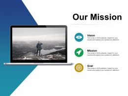 Our Mission Goal Ppt Visual Aids Infographic Template