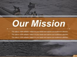 Our Mission Navy Image Slide Ppt Slides
