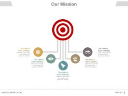 Our Mission Shown By 5 Icons Coming From Target Ppt Slides
