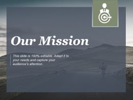 Our Mission Shown By Cycling Graphic And Target Ppt Slides