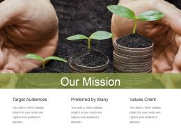 Our Mission Shown By Saplings Growing Ppt Slides