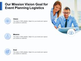 Our Mission Vision Goal For Event Planning Logistics N123 Powerpoint Presentation Display