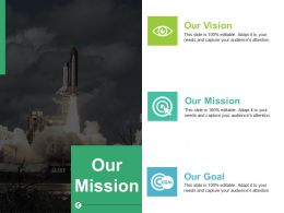 Our Mission With Three Icon Ppt Ideas Background Images