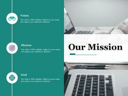 Our Mission With Three Icons Business Ecosystem Ppt Ideas Slideshow