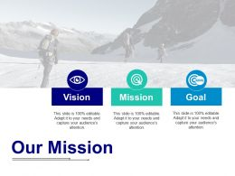 Our Mission With Three Icons Ppt Icon Infographic Template