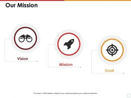 Our Mission With Three Icons Ppt Summary Master Slide
