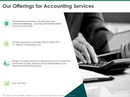 Our Offerings For Accounting Services Ppt Powerpoint Presentation Infographics Model