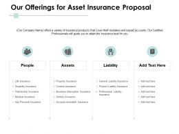 Our Offerings For Asset Insurance Proposal Ppt Powerpoint Presentation Pictures