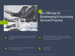 Our Offerings For Bookkeeping And Accounting Services Proposal Ppt Powerpoint Slides