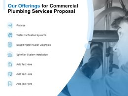 Our Offerings For Commercial Plumbing Services Proposal Ppt Powerpoint Presentation Model Slideshow