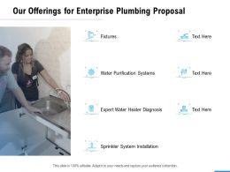 Our Offerings For Enterprise Plumbing Proposal Ppt Powerpoint Presentation Portfolio Format