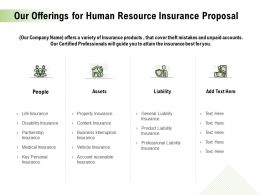 Our Offerings For Human Resource Insurance Proposal Ppt Styles