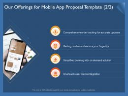 Our Offerings For Mobile App Proposal Template Profile Ppt Introduction