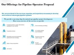 Our Offerings For Pipeline Operator Proposal Ppt Powerpoint Presentation Diagrams