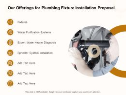 Our Offerings For Plumbing Fixture Installation Proposal Ppt Powerpoint Presentation Model Graphics
