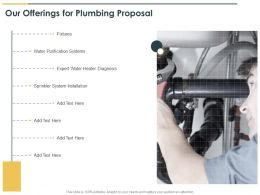 Our Offerings For Plumbing Proposal Ppt Powerpoint Presentation Images