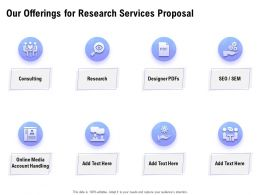 Our Offerings For Research Services Proposal Ppt Powerpoint Presentation Aids