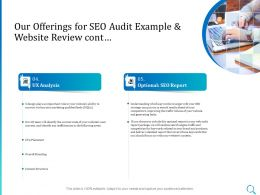 Our Offerings For SEO Audit Example And Website Review Cont Ppt Powerpoint Slides