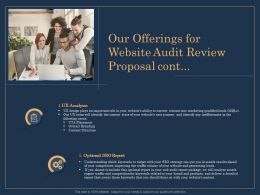 Our Offerings For Website Audit Review Proposal Cont Marketing Ppt Templates