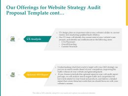 Our Offerings For Website Strategy Audit Proposal Template Cont L1526 Ppt Shapes