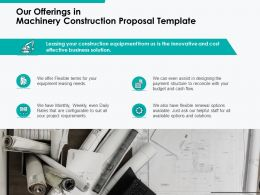 Our Offerings In Machinery Construction Proposal Template Ppt Powerpoint Presentation Portfolio Mockup