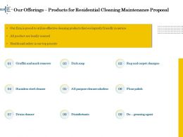 Our Offerings Products For Residential Cleaning Maintenance Proposal Ppt File Example Introduction