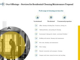Our Offerings Services For Residential Cleaning Maintenance Proposal Ppt File Format Ideas