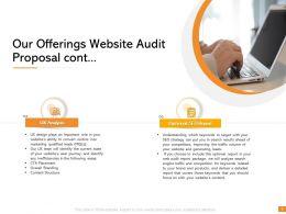 Our Offerings Website Audit Proposal Cont Ppt Powerpoint Presentation Design Ideas
