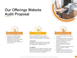 Our Offerings Website Audit Proposal Ppt Powerpoint Presentation Design Templates