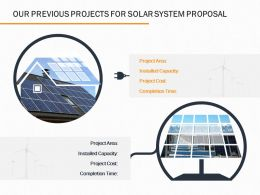 Our Previous Projects For Solar System Proposal Ppt Powerpoint Presentation Visual Aids Files