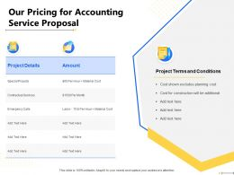 Our Pricing For Accounting Service Proposal Amount Ppt Powerpoint Presentation File Graphics