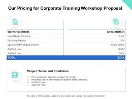 Our Pricing For Corporate Training Workshop Proposal Ppt Powerpoint Presentation Outfit