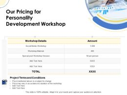 Our Pricing For Personality Development Workshop Ppt Powerpoint Introduction