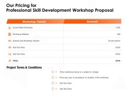 Our Pricing For Professional Skill Development Workshop Proposal Session Ppt Powerpoint Presentation Deck