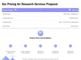 Our Pricing For Research Services Proposal Ppt Powerpoint Presentation Styles