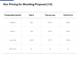 Our Pricing For Shuttling Proposal Transportation Ppt Powerpoint Pictures