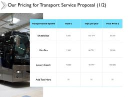 Our Pricing For Transport Service Proposal Ppt Powerpoint Presentation Files