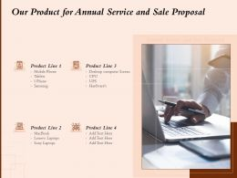 Our Product For Annual Service And Sale Proposal Ppt Powerpoint Presentation Vector