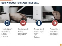 Our Product For Sales Proposal Ppt Powerpoint Presentation Infographics Outline