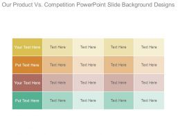 Our Product Vs Competition Powerpoint Slide Background Designs