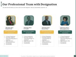Our Professional Team With Designation Ppt Powerpoint Presentation Professional Format Ideas