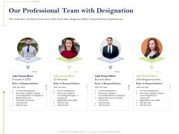 Our Professional Team With Designation Responsibilities Ppt Presentation Example File
