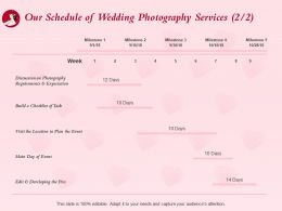 Our Schedule Of Wedding Photography Services Ppt Powerpoint Presentation Examples