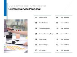 Our Service And Offerings For Creative Service Proposal Ppt Powerpoint Presentation File Samples