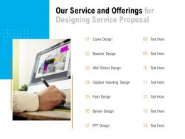 Our Service And Offerings For Designing Service Proposal Ppt Powerpoint Presentation Slide