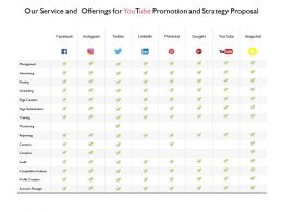Our Service And Offerings For Youtube Promotion And Strategy Proposal Ppt Slides