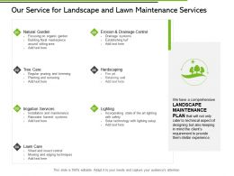 Our Service For Landscape And Lawn Maintenance Services Ppt Slides